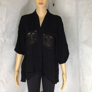Woman's Black Cardigan Open Lace Pattern